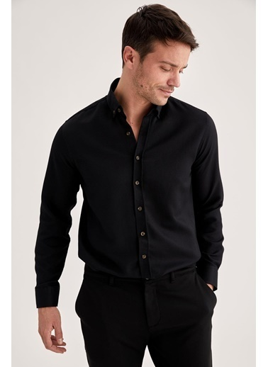 DeFacto Modern Fit Uzun Kollu Basic Gömlek Siyah